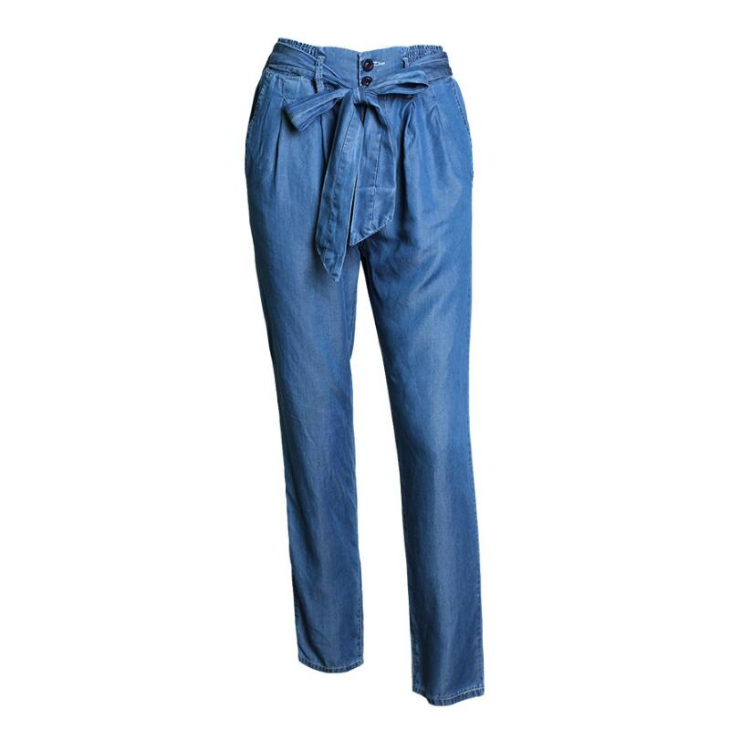 Fashion Women High Waist Jeans Woman Casual Loose Denim Wide Leg Pants Thin Elastic Belt Strap Trousers For Female new fashion 2017 women s elastic denim waist jeans casual loose denim wide leg pants female summer thin trousers jeans y368