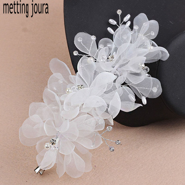 Metting joura wedding party white silk flower hair pin with metting joura wedding party white silk flower hair pin with rhinestone pearl for women girls mightylinksfo