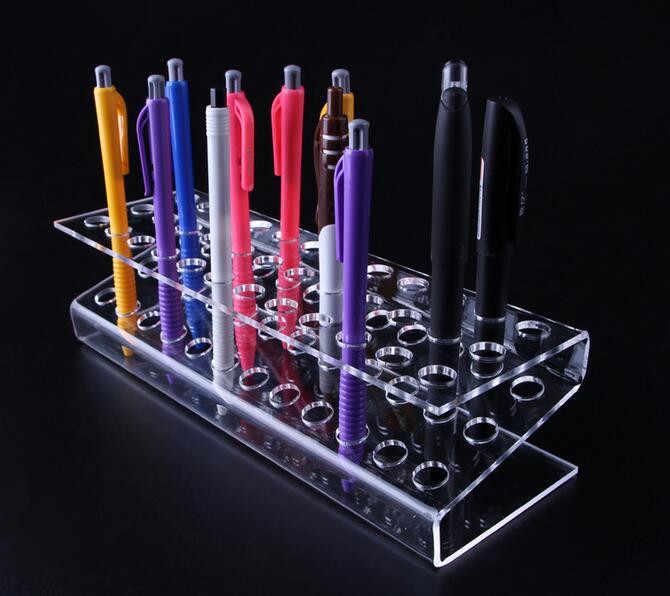 5pcs High quality Acrylic Pen Holder Cosmetic Brush Eyeshadow Pencil color Pen Lipstick Display Stand Rack Crystal pen shelf
