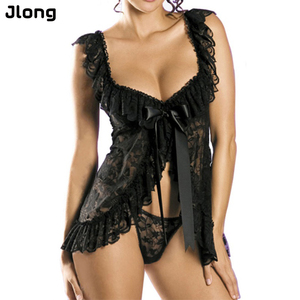 Sexy Women Lady Lace Print Sleeveless Nightgowns Dress Ladies Sleepwear Set