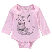 Infants Baby Girls Boys Fox Cotton Long Sleeve Bodysuit Jumpsuits Sunsuit Outfits One-piece