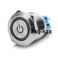 25mm Flat Power Ring LED Head Momentary Self Locking IP65 Stainless Steel Silver Contact 1NO1NC PIN