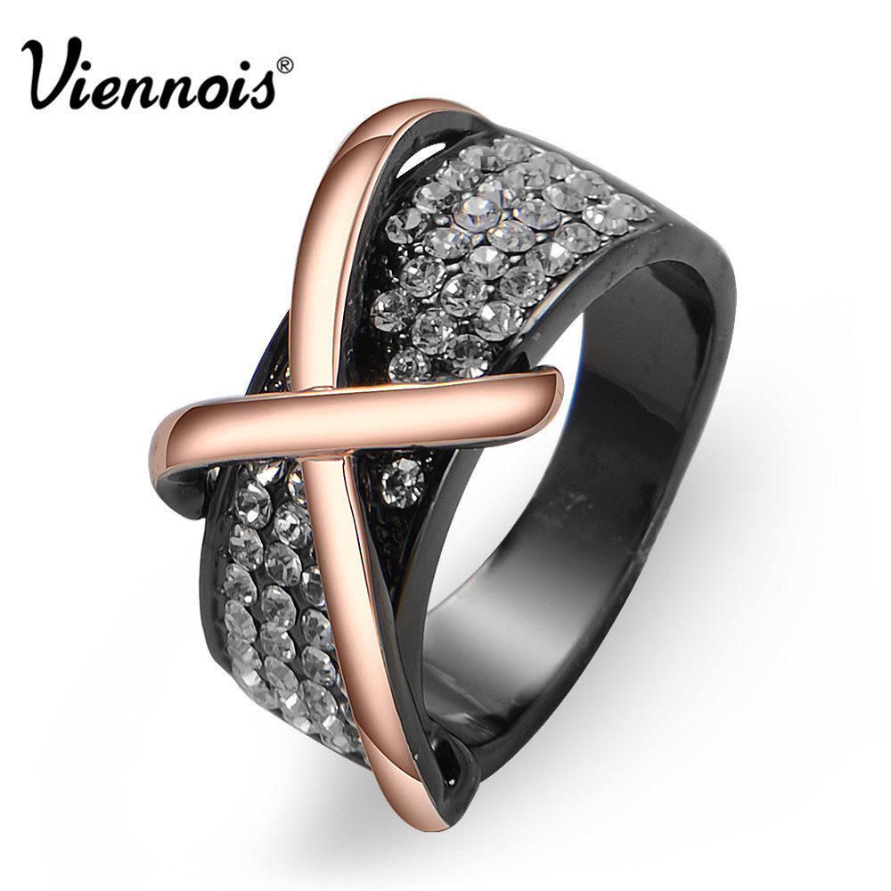 все цены на Viennois Rose Gold/Gun Color Cross Finger Rings for Woman Rhinestone Cocktail Engagement Ring for Lady Fashion Jewelry