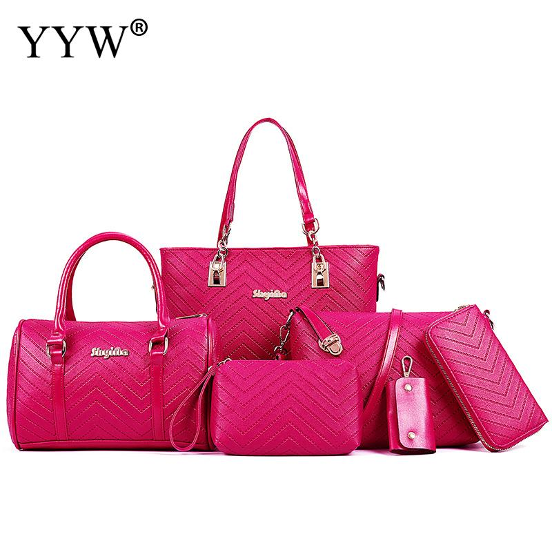 6 PCS/Set PU Leather Handbags Women Rosy Bag Set Brands Shoulder Bag Top-Handle Crossbody Bags Clutch Bag Womens'Pouch 5 Colors bag gucci bag page 6