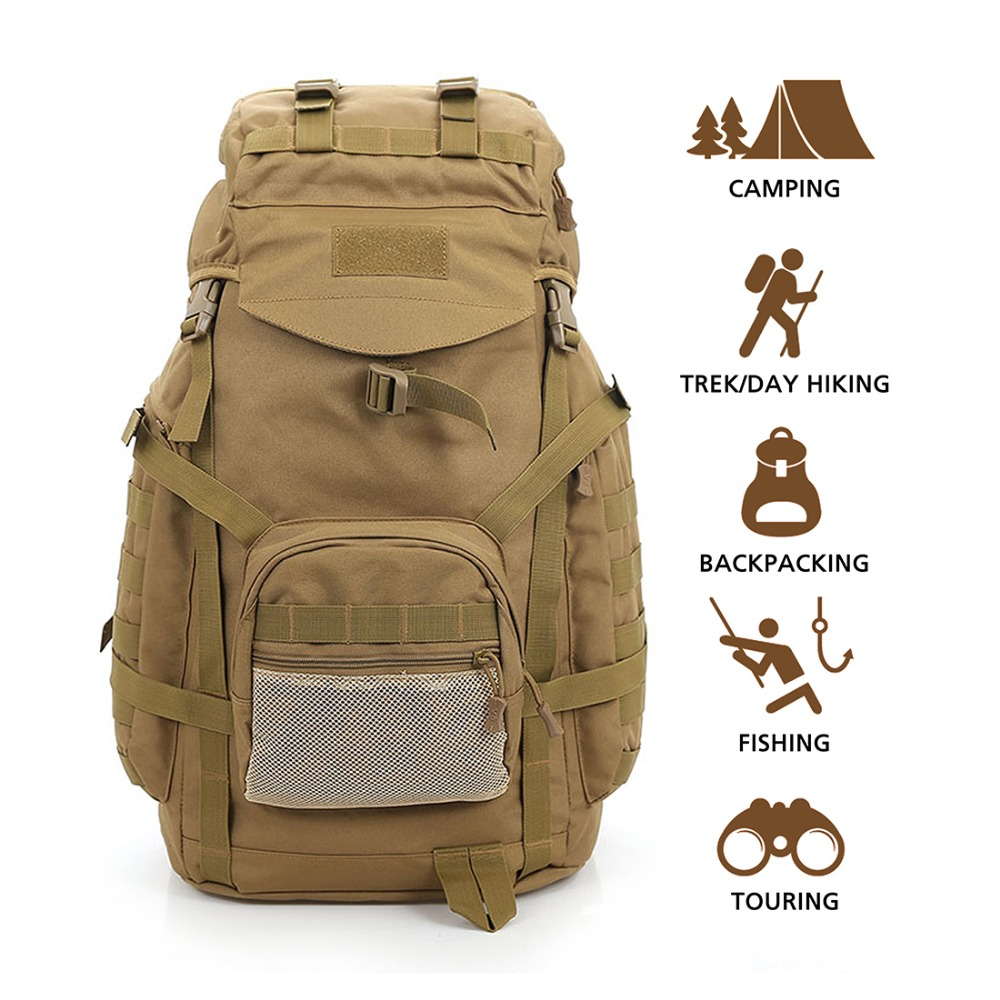 Outdoor Backpack 60L Waterproof Daypack Tactical Military Rucksacks for Cycling Camping Travelling Hunting Fishing Bag Tackle brand creeper 30l professional cycling backpack waterproof cycling bag for bike travel bag hike camping bag backpack rucksacks