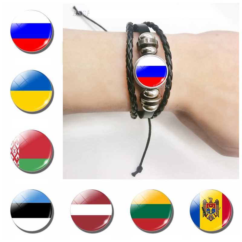 2019 Fashion Flag Bracelet Russia Ukraine Belarus Estonia Latvia Lithuania Moldova Flag Charm Leather Bracelets Gifts for Men