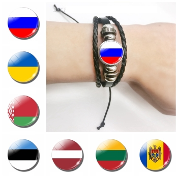 2019 Fashion Flag Bracelet Russia Ukraine Belarus Estonia Latvia Lithuania Moldova Flag Charm Leather Bracelets Gifts for Men image