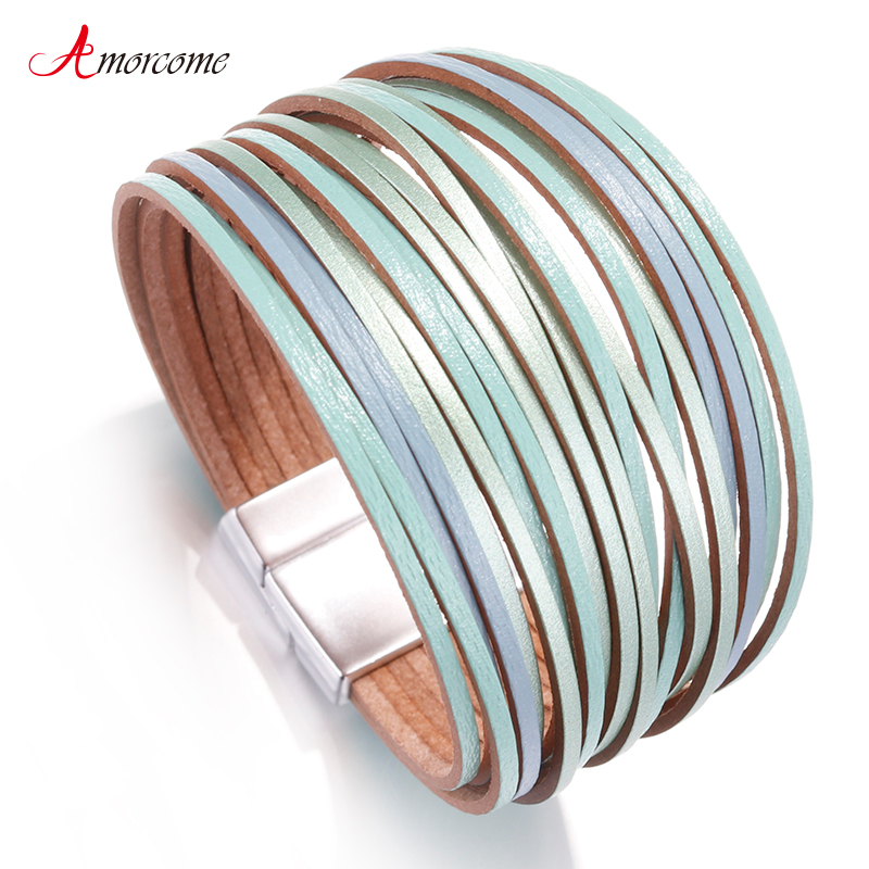 Amorcome Bohemian Leather Bracelets for Women 2019 Ladies
