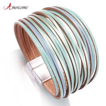 Amorcome Boho Mint Leather Bracelets for Women 2020 Fashion Ladies Slim Strips Multilayer Wide Wrap Bracelet Female Jewelry Gift 1