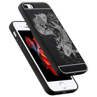 Fashion Shockproof Soft Silicone Case For Apple IPhone 5 5S SE New 3D Carved Fish Pattern