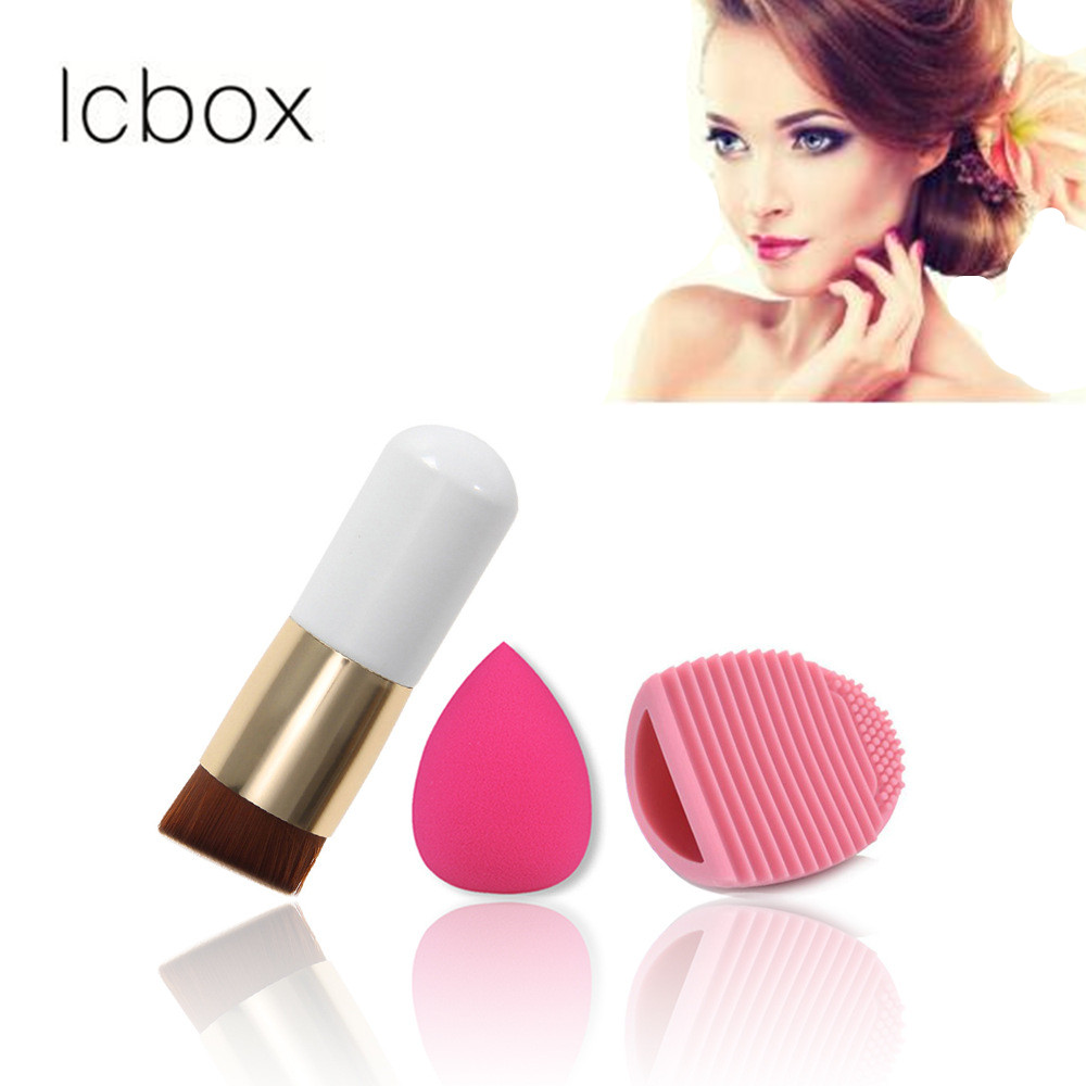 LCBOX Chubby Pier Foundation Brush Flat Cream Makeup Brushes with Powder Sponge Puff Wash Eggs Makeup Set Cosmetic Kit