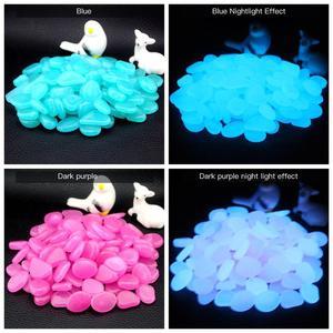 Image 5 - Pokich 100 uds. De piedras artificiales luminosas que brillan en la oscuridad, pasarelas, jardín, piedra Artificial fluorescente para decoración de acuario