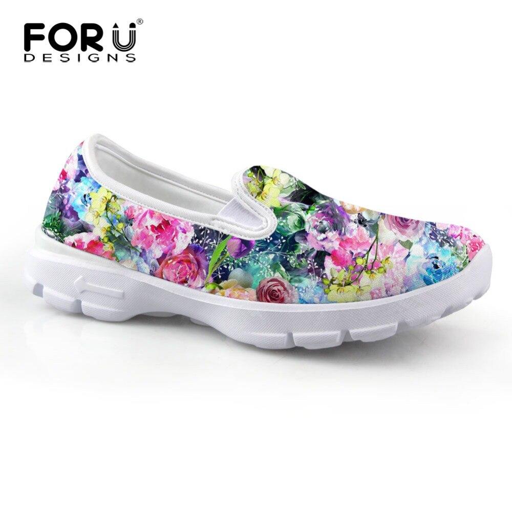Estampado de Flores de Verano de Las Mujeres de la vendimia Plana Zapatos de Pla