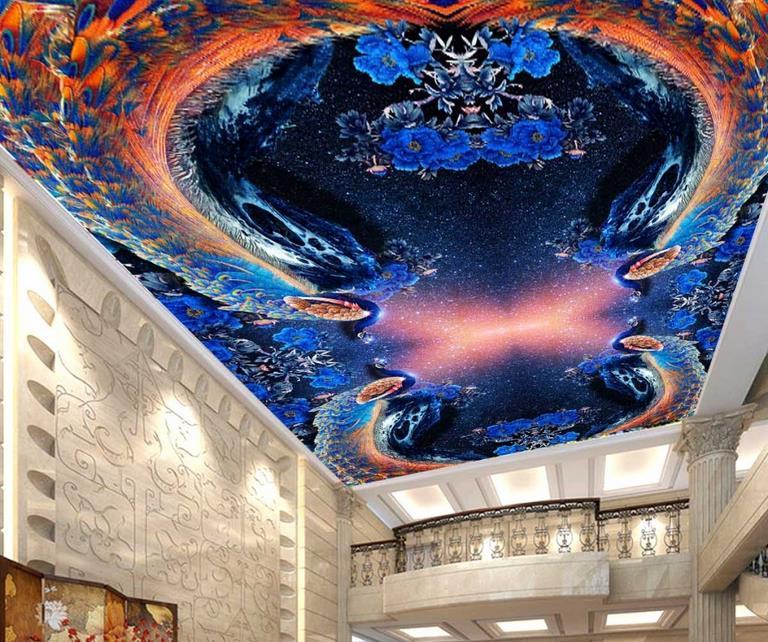 Ξcustom 3d ceiling Phoenix Peony wall paper 3d mural ceiling wall ...