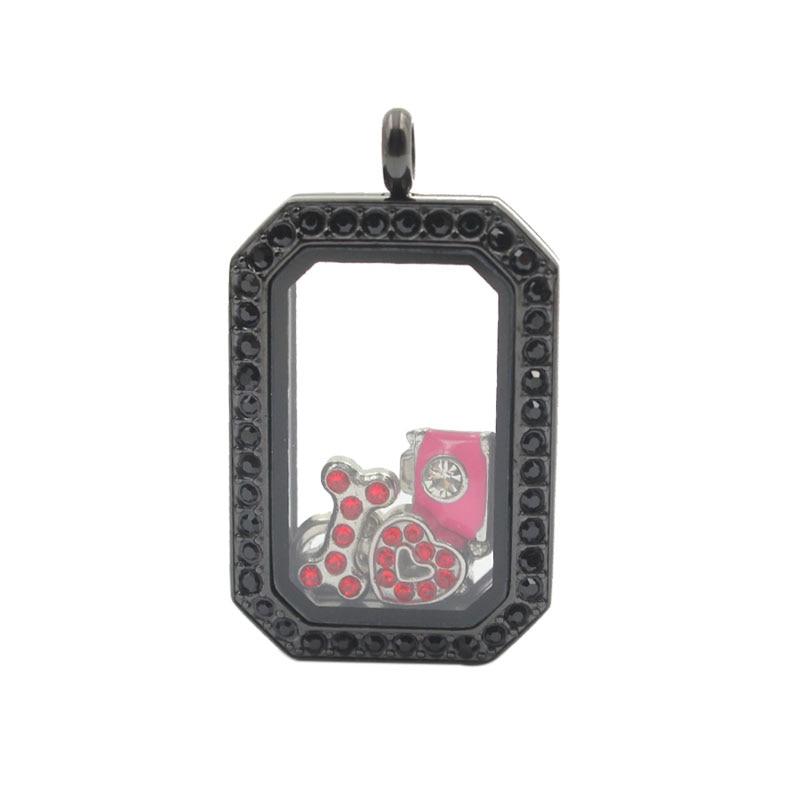 37caa9d860 Panpan 316L acero inoxidable negro patrimonio Locket flotante memoria  Locket con cristales negros