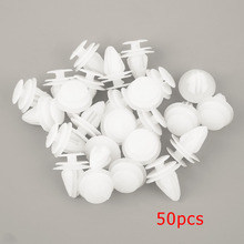 50 Pcs 8mm Universal Automobile Bumpers Hole Plastic Push Screw Rivet Door Buckle Panel Fixings Clips White For Car Auto