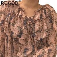 RUGOD Elegant Floral Print Ruffle Blouse Women 2019 Spring Sweet Long Sleeve Chiffon Blouse Casual Shirt Harajuku Kimino
