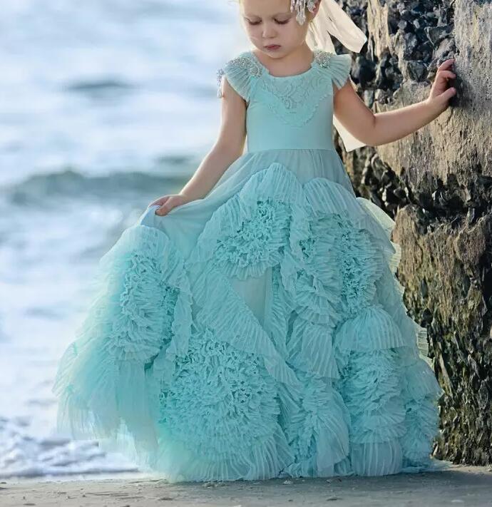 New Blue Ruffles Flower Girl Dresses A-line O-Neck Sleeveless Formal First Pageant Communion Gowns Custom Made Vestidos Longo jewel neck sleeveless floral print a line belted dress