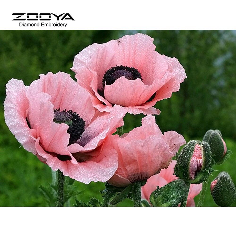 ZOOYA ZOOYA Store NEW 3D Diamond Painting Cross Stitch Pink Floral Crystal Needlework Diamond Embroidery Flower Full Diamond Decorative BJ510