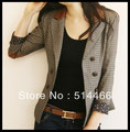 Long Sleeve Jacket Fashion Double Breasted Pocket Outerwears Women's Small Suit Stitching Leather Office Lady Coffee Plaid Coats