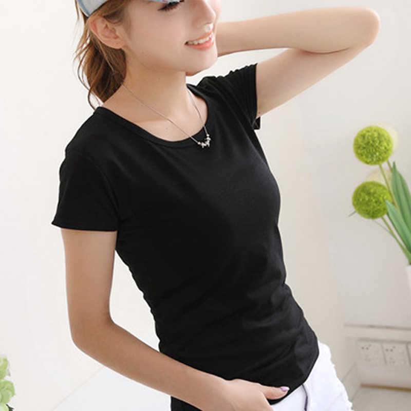 Женская летняя футболка, черный, белый цвет, однотонный топ, Femlae, короткий рукав, Круглый ворот, повседневная, тонкая, приталенная, футболка, Camiseta Feminina