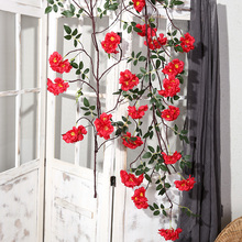 197cm hanging roses flowers vine plants with green leaves eternelle rose flower garland for wedding arch decorations H0036 цены онлайн