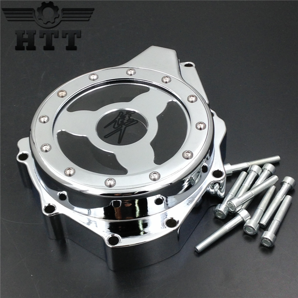 Aftermarket free shipping motorcycle parts  Glass see through Engine Stator Cover For Suzuki GSX1300R Hayabusa 1999-2015 CHROMED купить