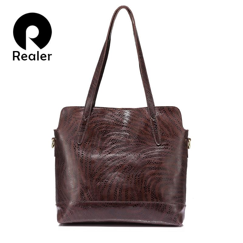 REALER women handbag genuine leather tote bag ladies large capacity shoulder bag female crossbody messenger bag brand design