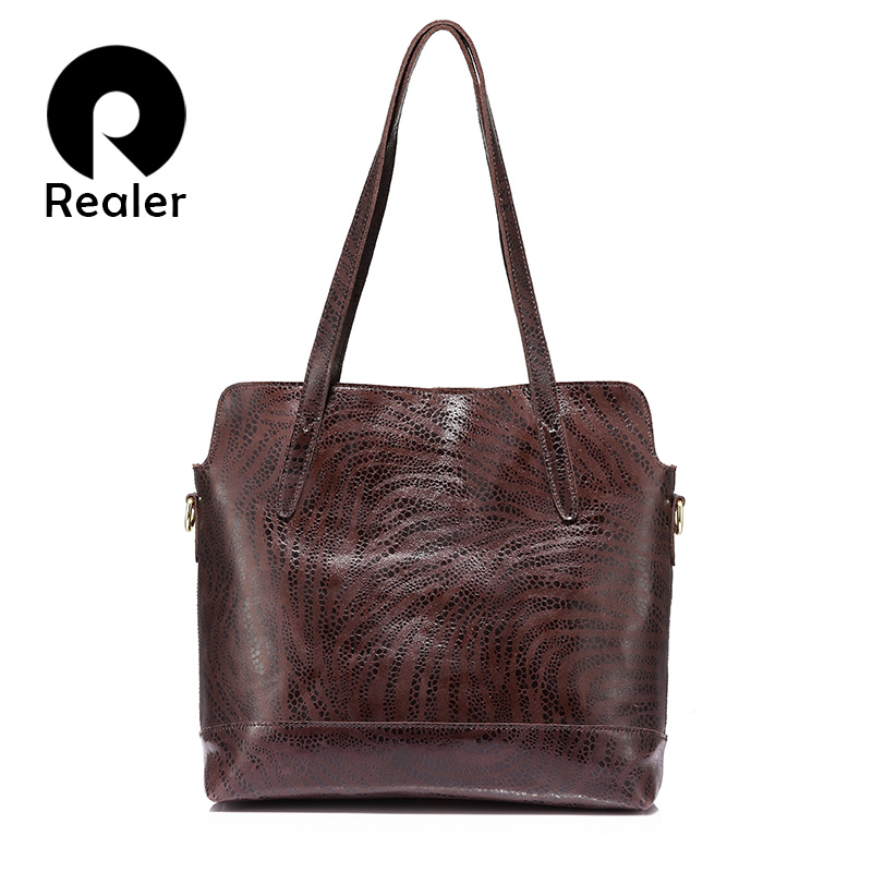REALER women handbag genuine leather tote bag ladies large capacity shoulder bag female crossbody messenger bag brand design