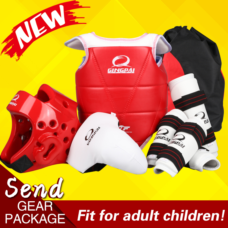 Hot 6pc taekwondo Protectors Adult kids wtf TKD protection karate helmet shin guard arm gear chest protector groin Guard support 2017new full set taekwondo protectors karate shin guard arm protector helmet body chest protector groin crotch protective guards