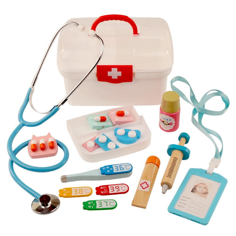 16Pcs Children Pretend Play Doctor Toys Kids Wooden Medical Kit Simulation Medicine Chest Set For Kids Interest Development Ki