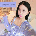 Women Robe & Gown Sets Long Nightwear 2 Piece Set Women's Sleepwear Flannel Robes Warm Home Bathrobe Ladies Dressing Gowns