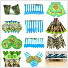 Teenage Mutant Ninja Turtles Kids Birthday Party Supplies Turtles Paper Banner  Table Cloth party decoration Plates Cups Straws цена