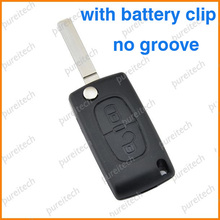 TYUI 20pieces/lot car keys for peugeot 307 2 buttons flip remote key case fob with battery holder VA2  blade
