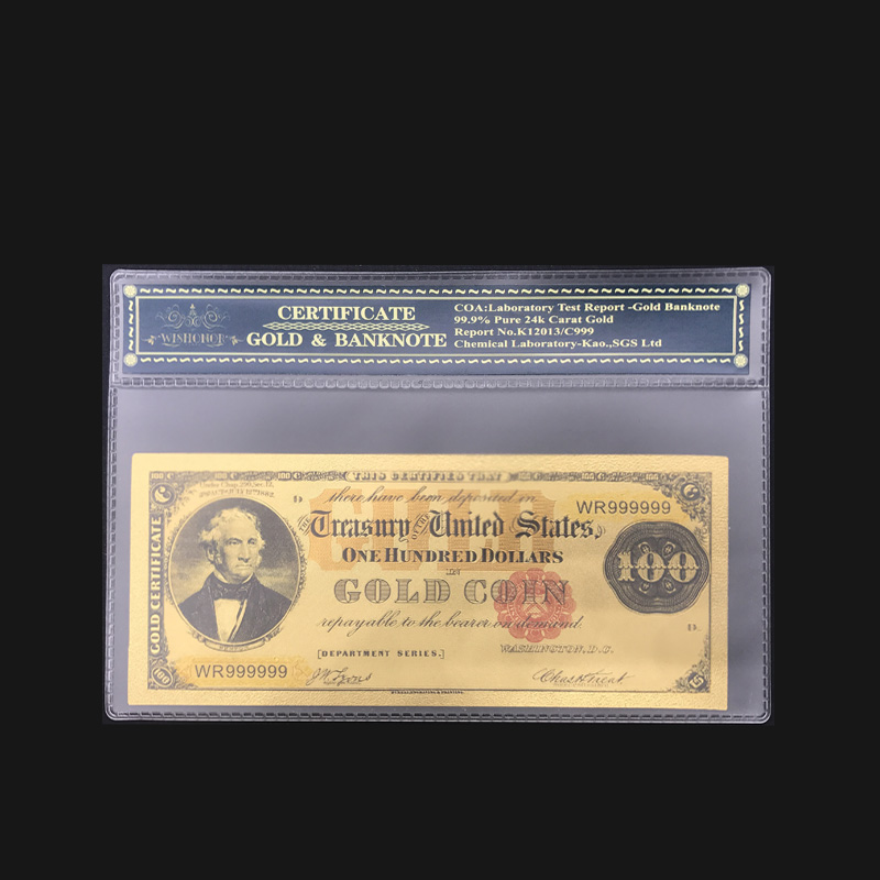 Купюры в виде золотых банкнот, 1882 цветные, с рамкой для подарка и коллекции, 100 долларов