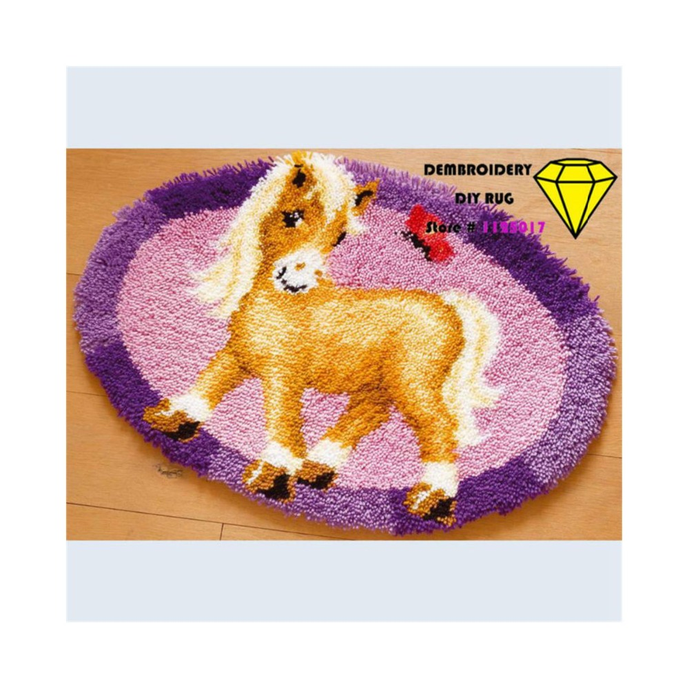 embroidery DIY carpet pictures horse diy carpet rug for Bedroom  cross-stitch fabric for sewing