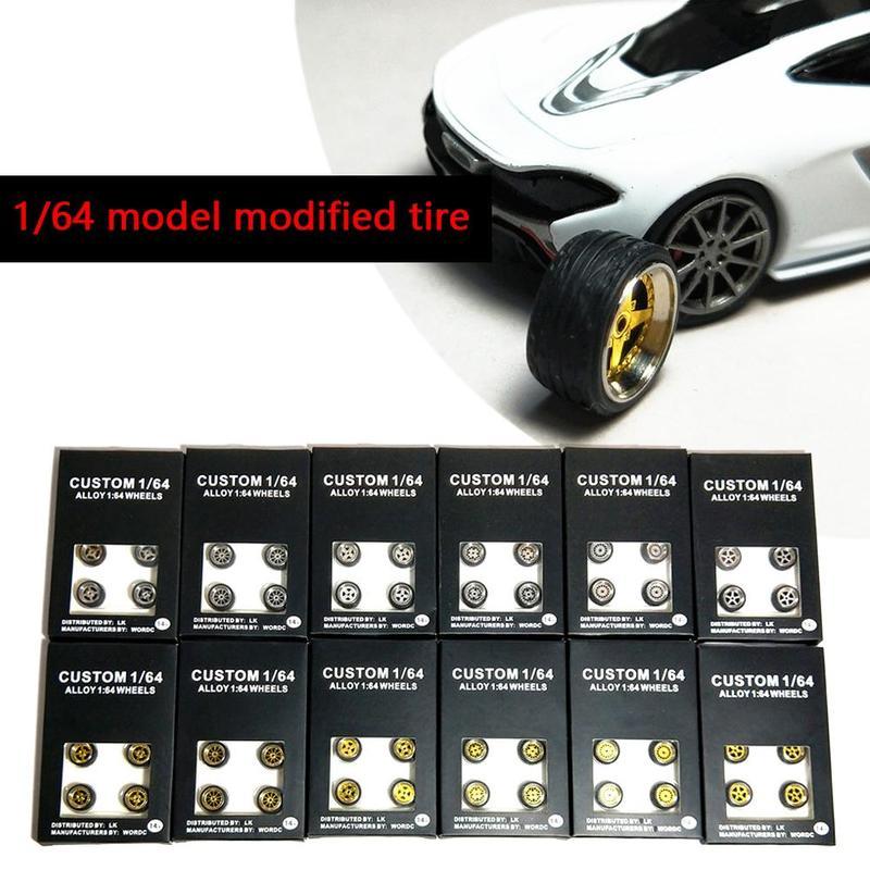 New Style 1: 64 modelo Modificado de Borracha do Pneu Da Roda Do Pneu Liga Diecasts Toy Vehicles Modelo Geral De Mudar os Acessórios Do Carro