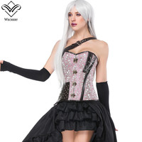Wechery Pink Corset Waist Trainer Gothic Steampunk One Shoulder Strap Corselet Corsets Metal Buckles Floral Bustier Tops
