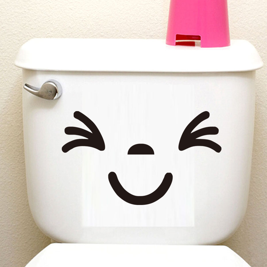 DCTOP 4 pcs/lot Cartoon Cute Face Vinyl Bathroom Wall Sticker Lovely Waterproof Toilet Sticker For Hotel Home Office Wall Decor
