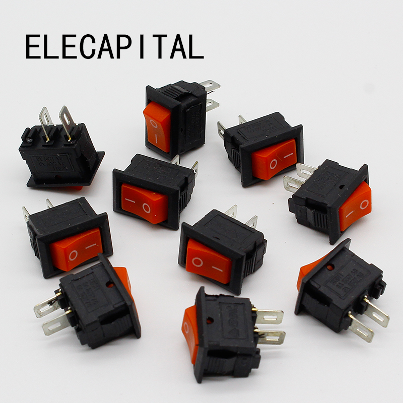10pcs/lot RED 10*15mm SPST 2PIN ON/OFF G125 Boat Rocker Switch 3A/250V Car Dash Dashboard Truck RV ATV Home 4pcs lot 20mm 3pin on off on g115 round boat rocker switch 6a 250v 10a 125v car dash dashboard truck rv atv home