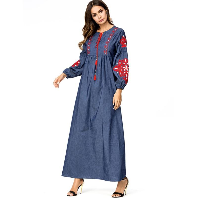 11cc0f4db948a Boho Dark Blue Embroidery Lace Up High Waist Skater Dress Long Sleeve  Elegant Street Wear islamic Dress Robe Kaftan Caftan D638-in Dresses from  ...
