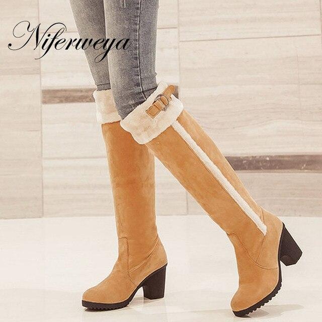 e3d2d293dc27a Hot sale ! The new Fashion winter women botas Big size 34-43 black high  heel shoes Buckle decoration Knee-High boots AUGZ-129