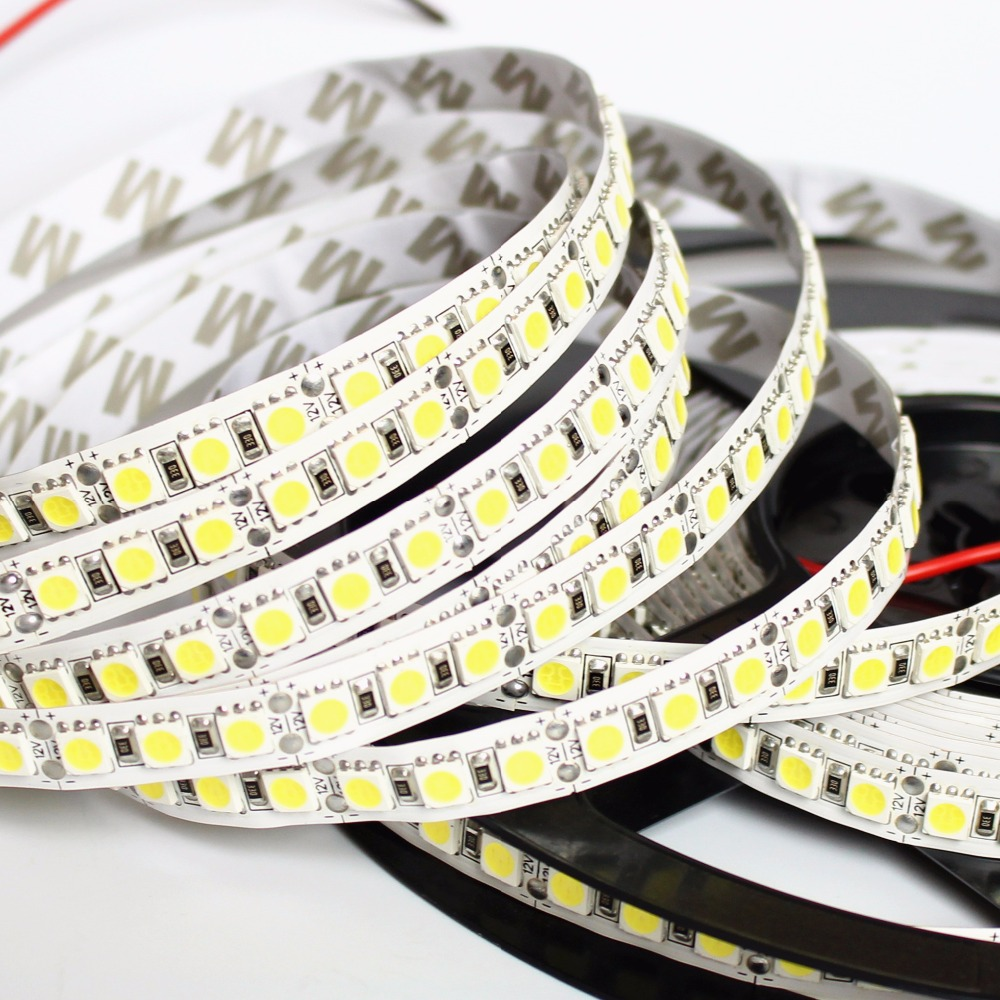 1/2/3/4/5M LED Strip 5050 DC12V 120LEDs/m  Flexible LED Strip Tape Lighting  RGB /Warm White/White 5050 LED  High Brightness