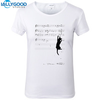New Summer Fashion Funny Mischief Cat T Shirts Women Short Sleeve Cartoon White Tops Cotton Slim