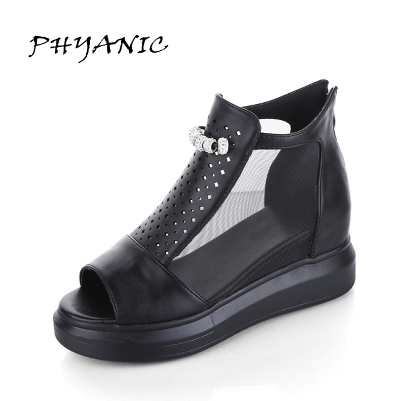 PHYANIC Mesh Breathable Women Sandals Peep Toe Summer Boots Woman Increasing Heel Platform Rhinestones Sandals PHY3414 phyanic 2017 summer women sandals platform wedges sandals hook