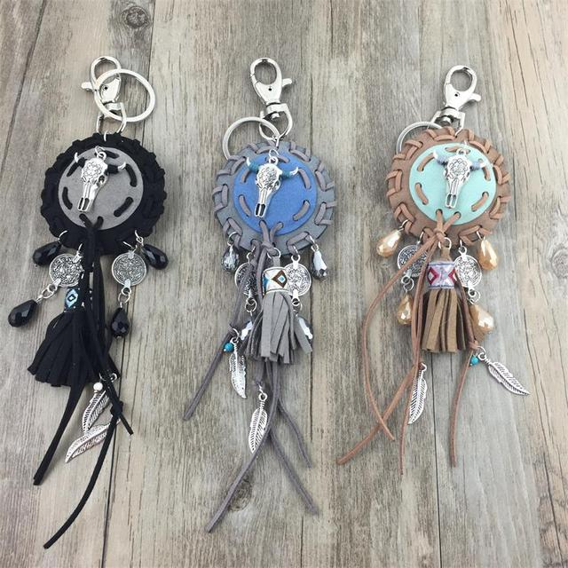 2016 new personalized custom unique car key chains lanyards Key rings key finder fashion metal keychain feather tassel pendants