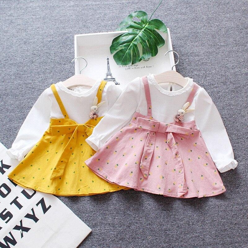 Autumn Kids Dresses for Girls Cotton Long Sleeve Children Dress Bowknot Girls Dresses