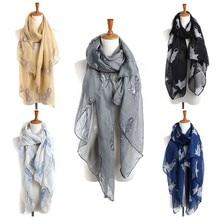 28c599730 2018 mujeres señoras gato estampado bufanda larga abrigo cálido chal Voile  90 cm * 180 cm