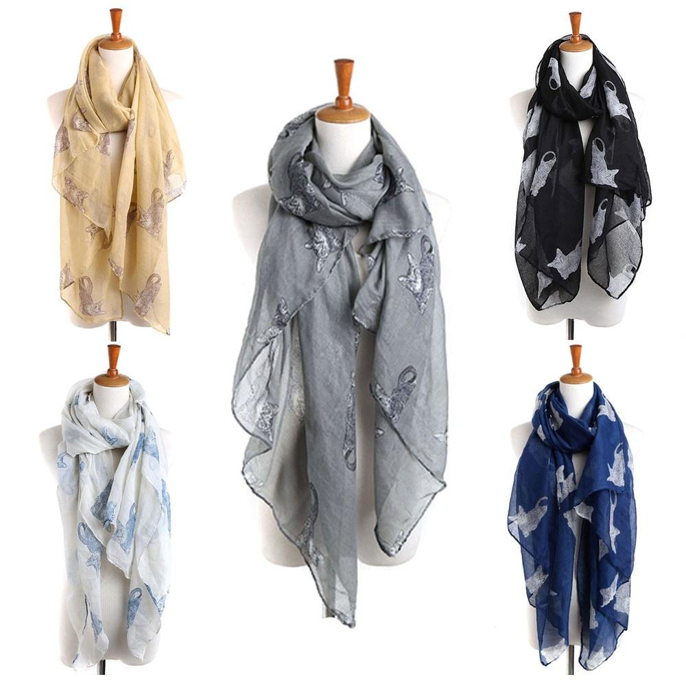 Women Ladies Cat Print Long   Scarf   Warm   Wrap   Shawl Voile 90cm*180cm Fashion Design winter shawl echarpe fourrurepipe to the neck