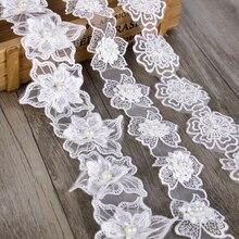 Органза кружево лента цветок жемчужная отделка Вышивка шитьё ткань лента для самодельного украшения одежды аксессуары для упаковки подарков, 1Yc2488